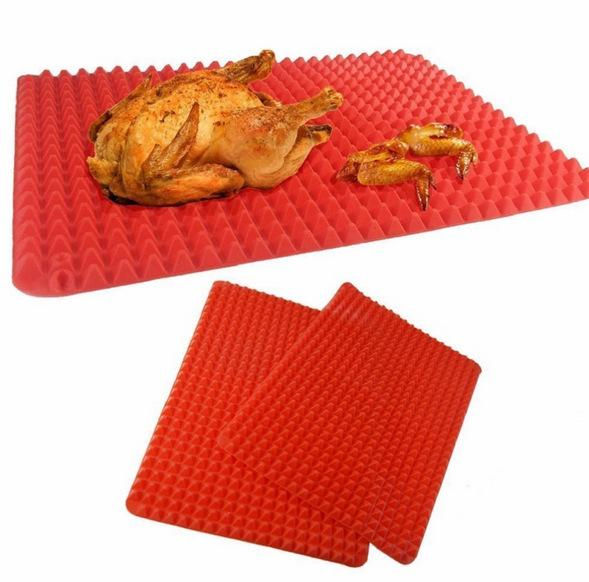 2018 New Arrival Microwave Oven Roasting Mat Pyramid Pan Silicone Non Stick BBQ Mat Kitchen Baking Tray Sheet Cooking Pad F2277