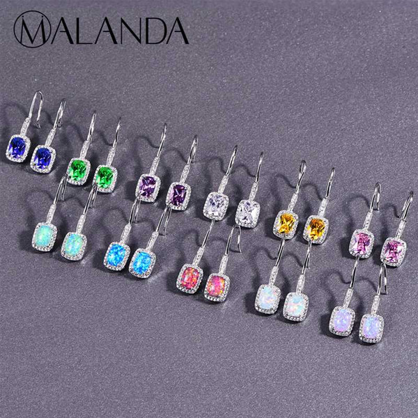 MALANDA Brand Fashion Square Opal Drop Earrings For Women Zirconia Stone long Dangle Earrings Wedding Party Office Jewelry Gift