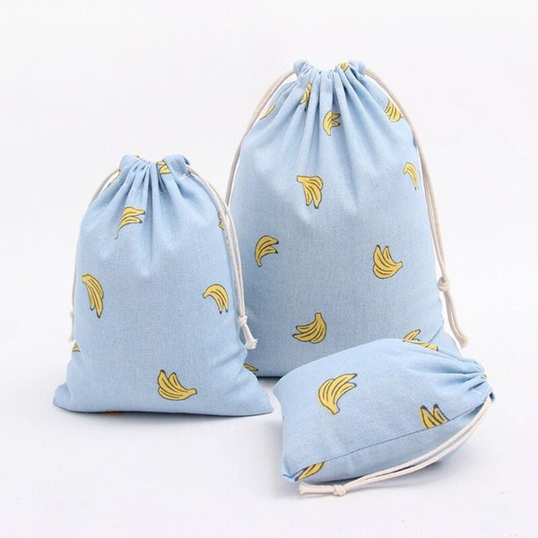 Banana print cotton linen fabric dust cloth bag Clothes socks/underwear shoes receive bag home Sundry kids toy storage bags