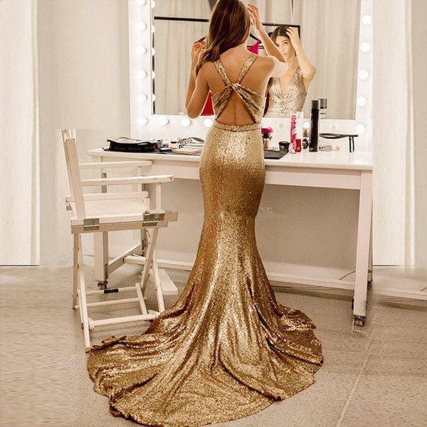 2019 Glamorous Sequins Mermaid Evening Dresses Deep V Neck Sleeveless Open Back Champagne Gold Formal Prom Dresses Sweep Train