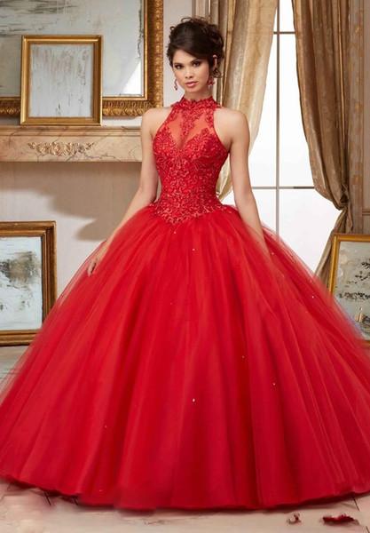 Compre Encantadores Vestidos Rojos De Quinceañera Sheer Cuello Alto Dulce 16 Vestido De Disfraces Vestido De Fiesta Con Apliques De Encaje Tul