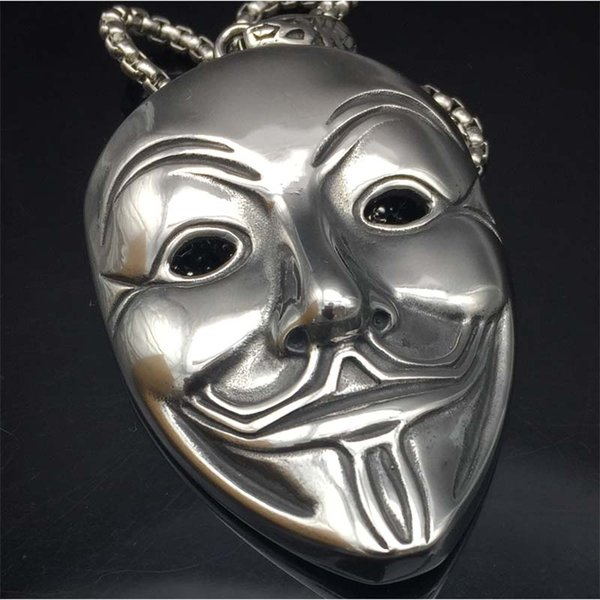 Punk Mens Necklaces Stainless Steel V For Vendetta Mask Pendant Necklace Fashion Jewelry For Women or Men Collier