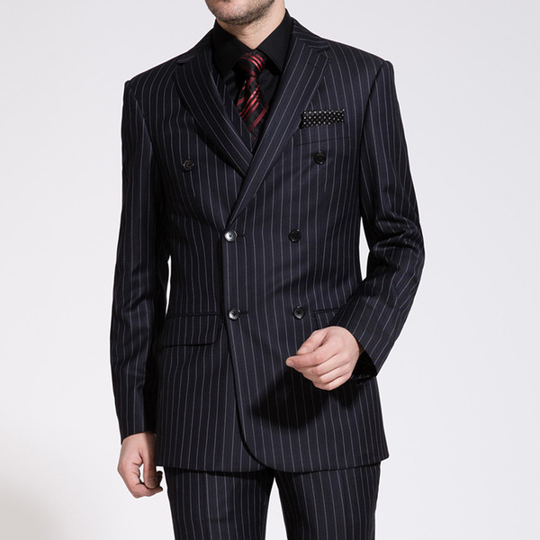 Groom Suits 2016 New Arrival Wedding Mens Stripe Suit Set Mens Suits with Pants Double-breasted for Weddings