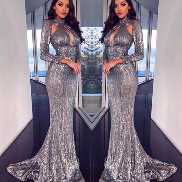Élégant sirène paillettes robes de bal haut du cou trou de serrure manches longues robe de soirée formelle paillettes de luxe robe de soirée de Dubaï robes de cocktail