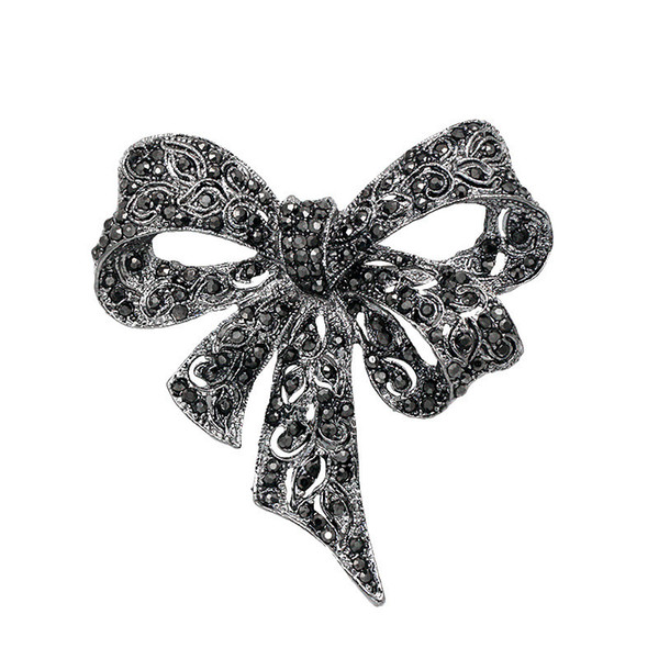 New Vintage Silver Bow Brooches Jewelry For Women Girls Black Rhinestone Bowknot Brooch Pin Cloth Accessory Christmas Gifts