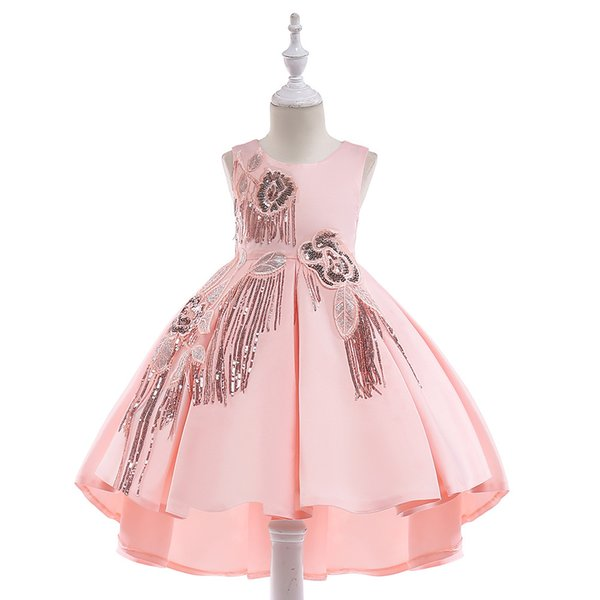 New Fashion Sheath Lace Short Flower Girl Dresses with Detachable Train Short Sleeves Girls Pageant Communion Dress Kids Prom Evening Gowns