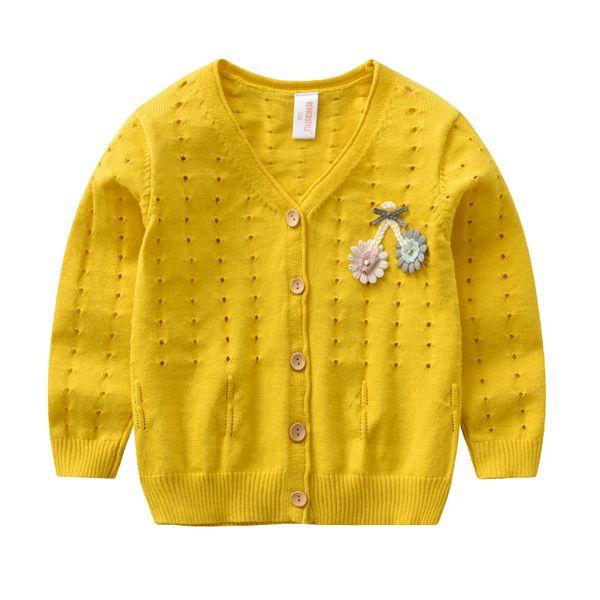 Дети вязать кардиган хлопок полые вязать куртка пальто девочка свитера цветочные брошь вязание свитер пальто BC188