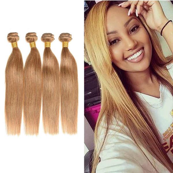 Brazilian Straight Blonde Human Hair 4 Bundles Colored Brazilian 27# Honey Blonde Virgin Hair Weave Cheap Straight Human Hair Extensions