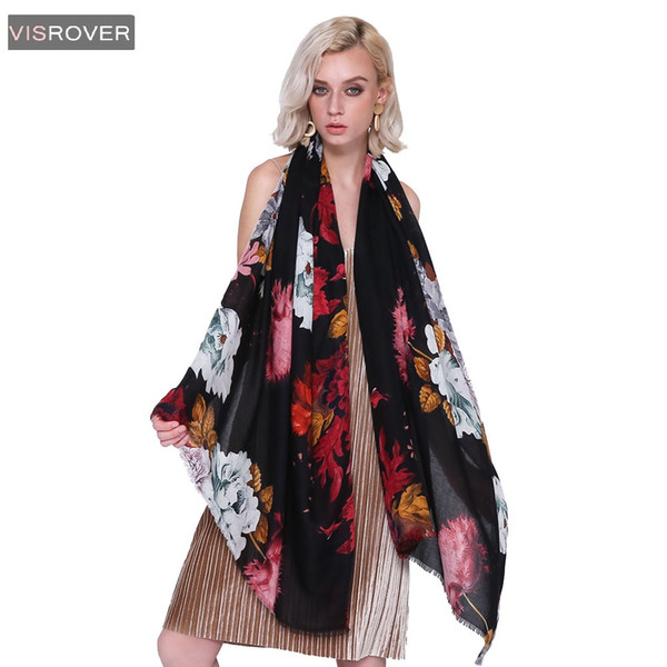 VISROVER Free Shipping 2018 Women Brand Fashion Floral Shawl Scarf Print Soft Wrap  Muslim Hijab Scarf Beach Dress