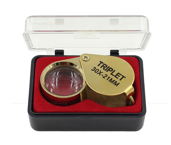 Portable 30X Power 21mm Jewelers Magnifier Gold Eye Loupe Jewelry Store Lowest Price Magnifying Glass with Exquisite Box DHLfreeshipping