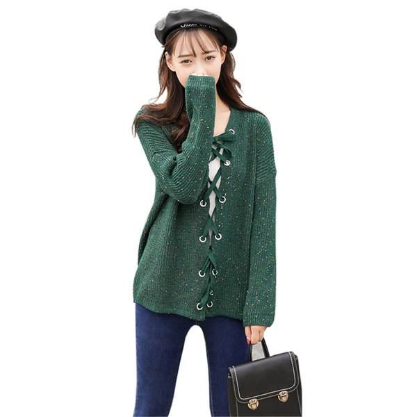 Pengpious winter fall v-neck women sweater cardigan design with eyelets and string loose sweater for girls