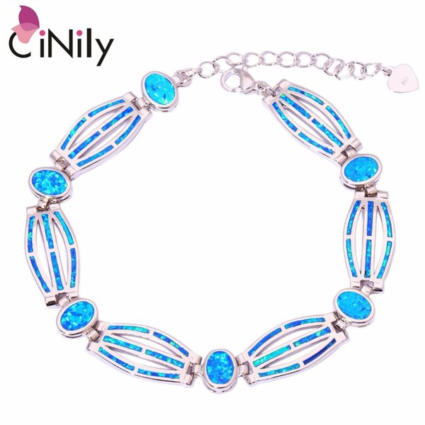 "CiNily Created Blue White Orange Fire Opal Silver Plated Wholesale for Women Jewelry Wedding Chain Bracelet 7 7/8"" OS413-15"