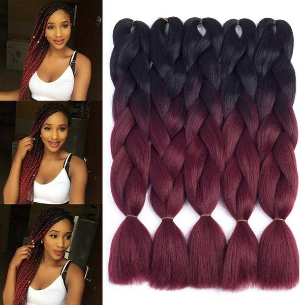 best selling Two Tone Ombre Jumbo Braid Hair Extension For Braids Black to Burgundy 24'' Kanekalon Jumbo Box Braiding Hair