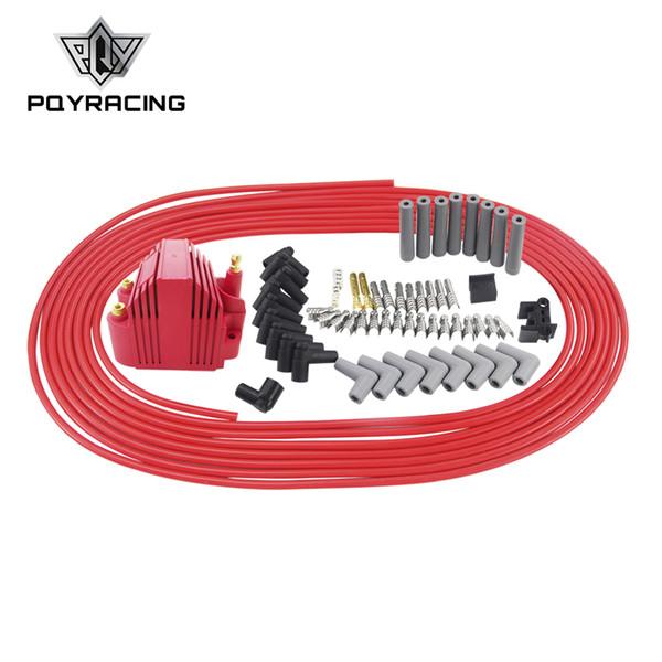 PQY - 10m / set Cables de bujía Bobina de encendido 8.5mm + 12V E-Core Bobina de encendido para Chrysler Hemi Pro Stock para Ford Dodge Set PQY-EIC11 + SSC01