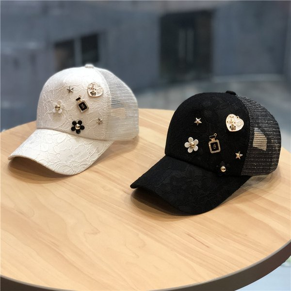 Summer Mesh breathable Cap lace Baseball Caps Women  decoration Fashion Snapback Caps For Women&Man Sport Cap Girls
