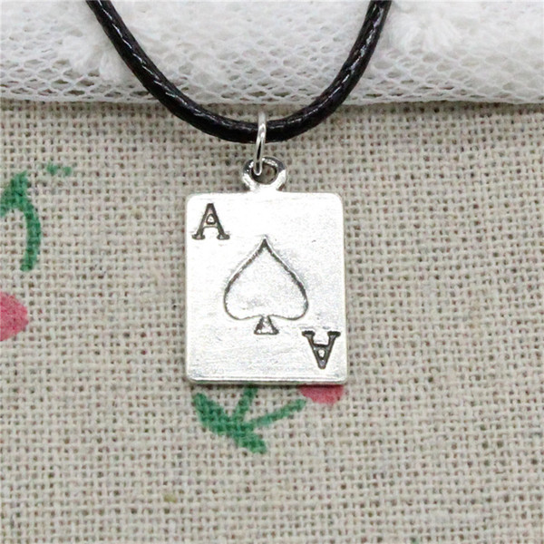 Creative Fashion Antique Silver Pendant ace of spades playing card poker 20*12mm Necklace Choker Charm Black Leather Cord Handmade Jewlery