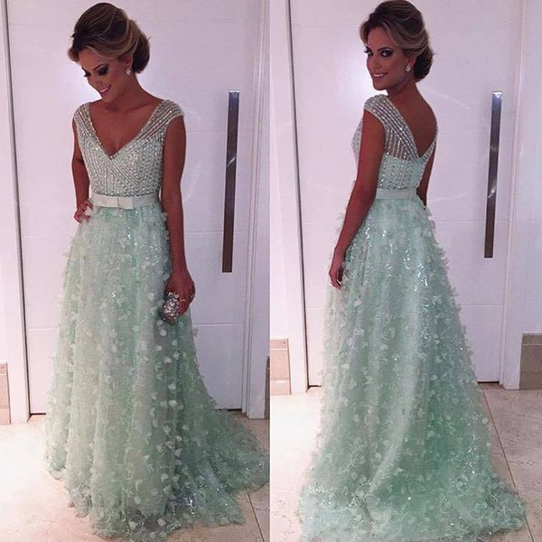 Arabic Mint Green Cap Sleeves 3D Floral Lace A Line Evening Dresses 2018 V Neck Beaded Stones Top Bow Sash Formal Party Prom Dresses