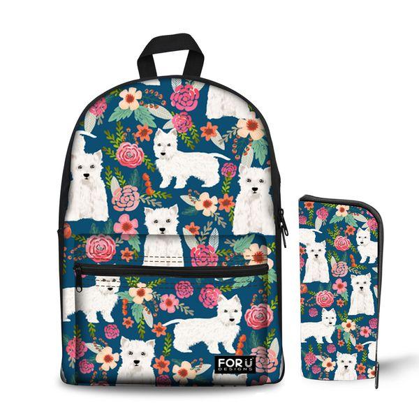 Noisydesigns Tier Hund Highland Print Mädchen Rucksack Schultasche mit Federmäppchen Set 2 Stück Schulranzen für Mädchen im Teenageralter