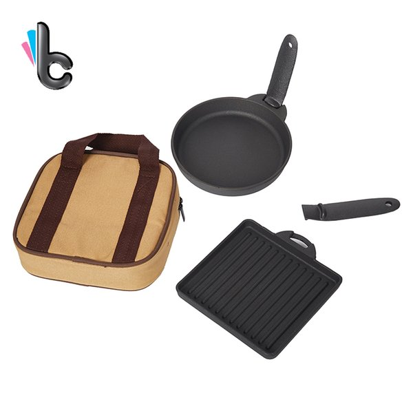 2pcs New Cast Iron Steak Dish Small Fry Cast Iron Baking Pan Fried Egg Outdoor Grill Pan Small Baking Pan Suit