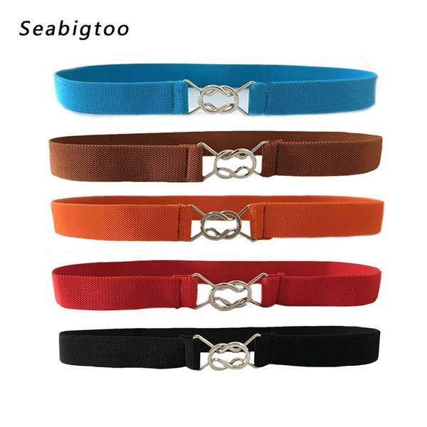 Belts for women 2018 Fashion sliver circle buckle Cute Bow elastic stretch waistband thin slim vintage belts Simple and elegant