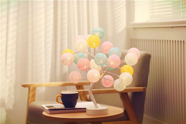 LED 2018 New Nordic Handmade Cotton Ball Tree Light Roses Night Table Light Bedroom Gift Decorative Light