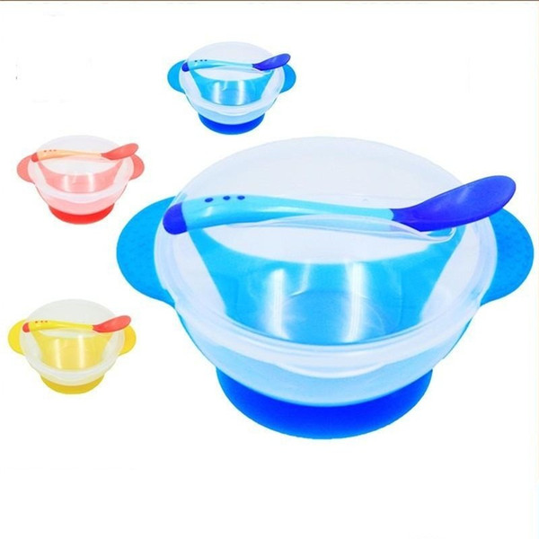 Practical Baby Training Bowls Sets Portable Anti Scald Sucker Bowl Set Easy To Clean Kids Supplies With Spoon Cover 2 95xd cc