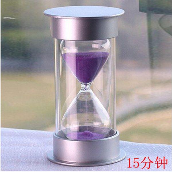 Botique Plastique Sablier Cristal 10/15/30 Minutes Sablier Horloge Sablier Minuteur (15min, Violet)
