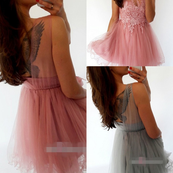 Lovely Jewel Party Dresses Lace-up Sleeveless Lace Applique Illusion Petal Power Short/Mini Length Cocktail /Party Dress