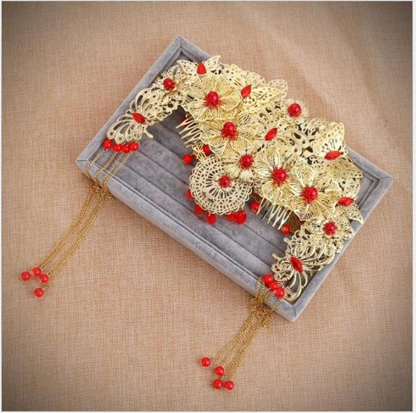 Bridal headdress, red costume, fringed comb, Chinese wedding gown, cheongsam accessories