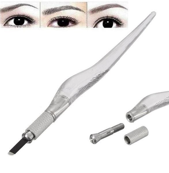 Manual Eyebrow Microblading Pen Permanent Tattoo Makeup Machine Pencil Unique Design Transparent Handle Body Art Tools