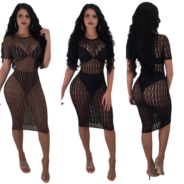 Black Brown Mesh Perspective Midi Bodycon Dress Sexy Short Sleeve Geometric Print O Neck Club Dresses Women Robe Femme Ete