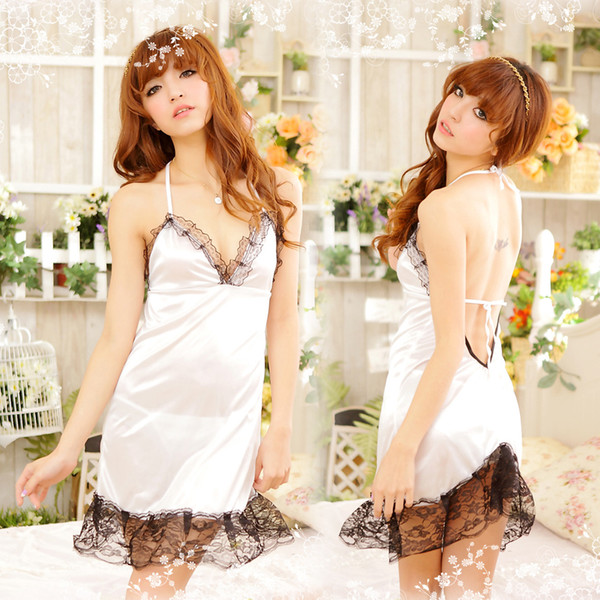 Sexy lingerie white sexy lace halter nightgown sexy suit factory outlet