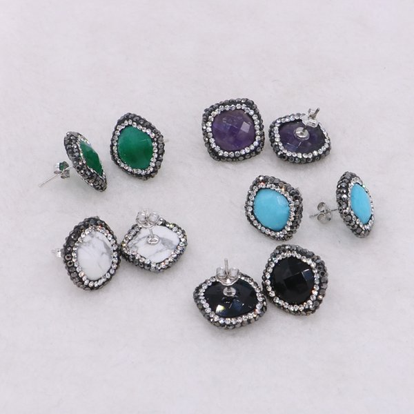 5 Pairs Natural Multi Stone Stud Earrings Faceted Pave Rhinestone Druzy Earrings Handcrafted Square Gem Jewelry for Women