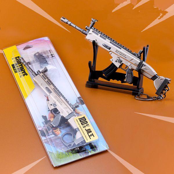 Fortnite Scar Rifle Toys Model Metal Weapon Imitation Gun Key Chain Universal Cellphone Key Ring Buckle Free DHL B115