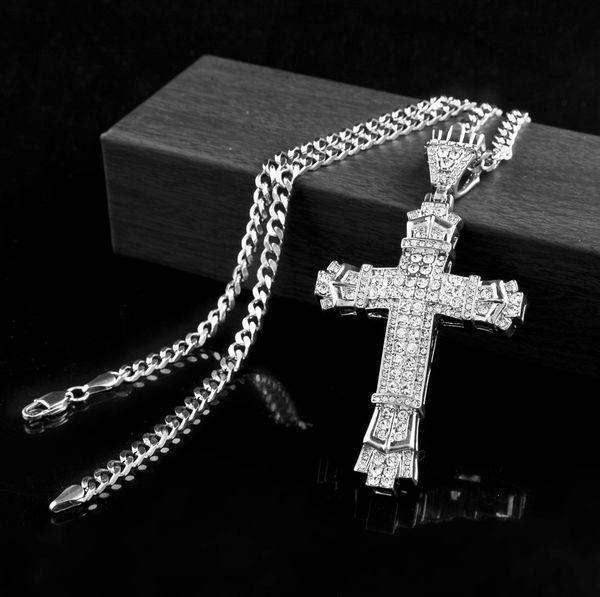 ciondolo retrò in argento a forma di ciondolo con pendenti in oro cz diamanti simulati collana con ciondolo crocifisso cattolico con lunga catena cubana