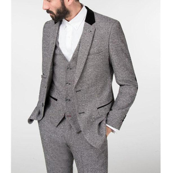c0f36b0c738c94 Gray Winter Tweed Men Suit 2018 Tailed Made Wedding Groom Tuxedo Three  Piece Costume Jacket Pants
