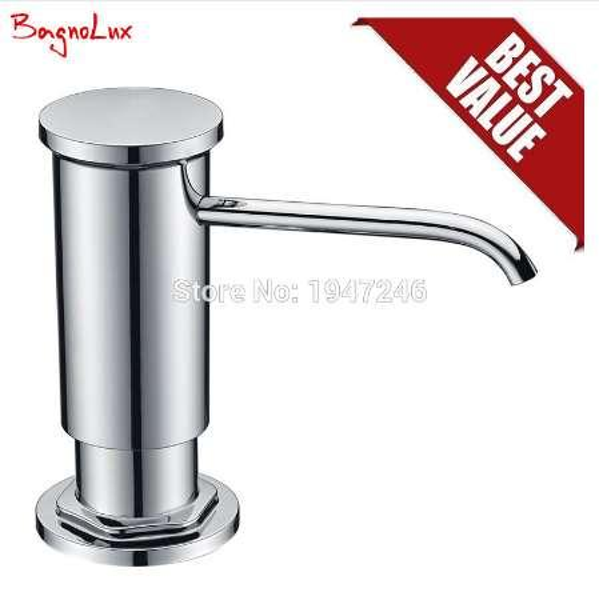 Bagnolux F048C High Quality Deck Mounted Kitchen Sink Soap Dispenser Chrome inclued Plastic Pump & Head PE Clear Plastic Bottle