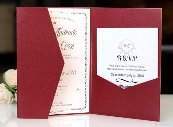 Compre Tarjetas De Invitaciones Cortadas Con Láser De Color Rojo Oscuro Con Tarjetas De Rsvp Papel Blanco Perla Invitación De Tarjetas Para La Fiesta
