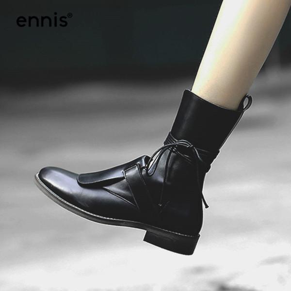 Toptan 2018 Moda Tasarımcısı Hakiki Inek Deri Çizmeler Kadın Siyah Ayak Bileği Çizmeler Düz Ayakkabı Kahverengi Sonbahar Dantel Düşük Topuk Çizmeler A8143