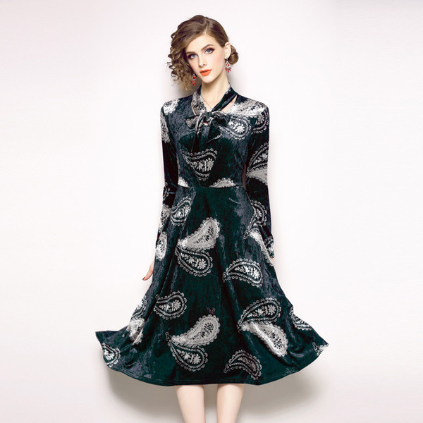 Prom Gowns Party Dress for women Long Sleeve Trend Original Design Retro Feather Print A Line Dresses