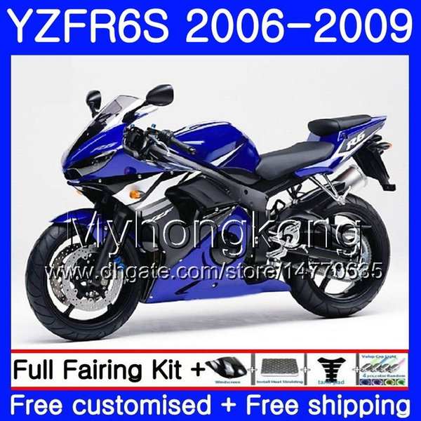 Bodys For YAMAHA YZF600 YZF R6 S YZF R6S 2006 2007 2008 2009 231HM.48 YZF-R6S YZF-600 YZF R 6S R6S 06 07 08 09 Fairing Kit Factory blue hot