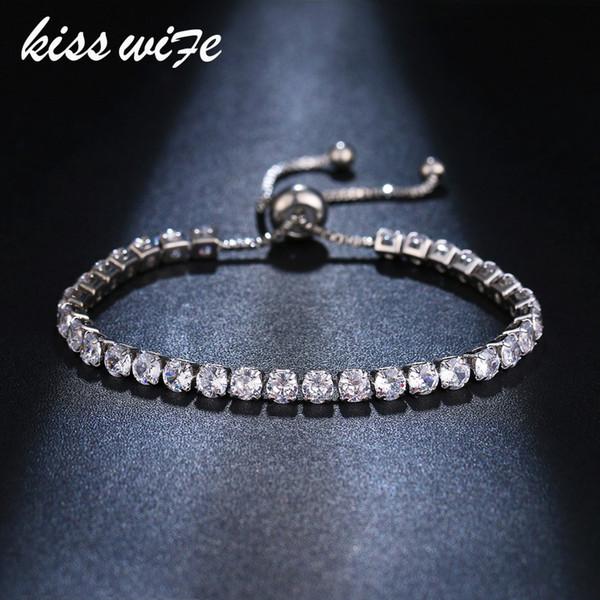 KISS WIFE Pulseras Para Las Mujeres 2 Color Zirconia Cúbica Pulsera Brazaletes Crystal Zircon Stones Ajustable Plata / Oro Color Brac
