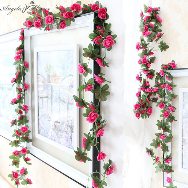 1pcs 2.3m 45 flower heads silk rose rattan artificial rose flower vine wedding decoration for windows chairs walls home decor haif