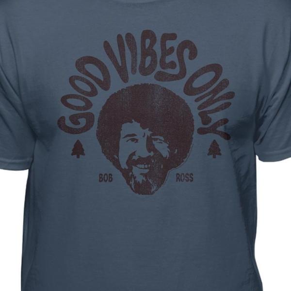 Bob Ross Good Vibes Only Camiseta oficial Divertido envío unisex casual regalo