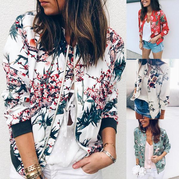 New Autumn Womens Ladies Long Sleeve Floral Print Zipper Bomber Jacket Biker Outwear Coat 4 Colors 4 Size