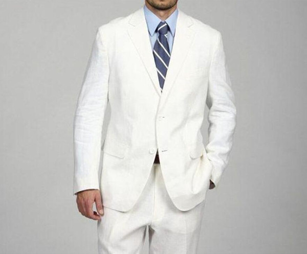 New Arrival Custom Mens Suits White Wedding Suits For Men Notched Lapel Slim Fit Grooms Tuxedos Two Piece Groomsmen Suit