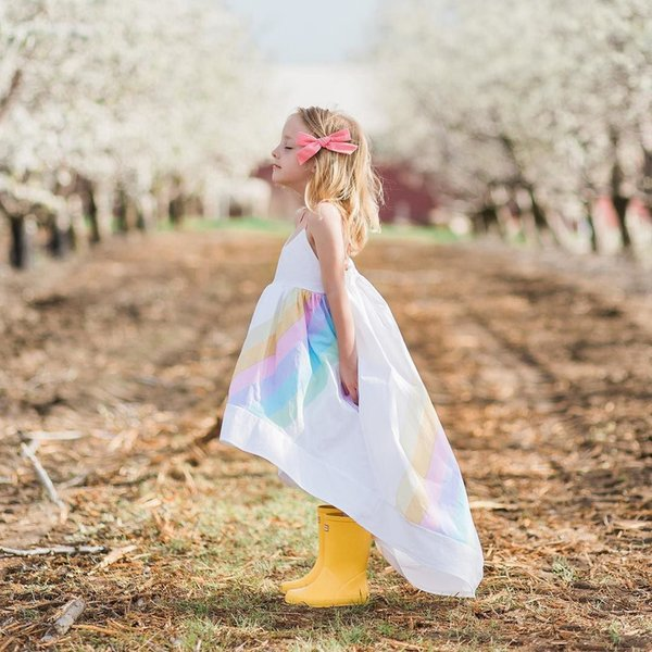 2018 New Girls Dresses Fashion Baby Girl Clothes Summer Rainbow Slip Dress Kids Sundress For Girls Toddler Clothing Baby Dresses 1-5Years