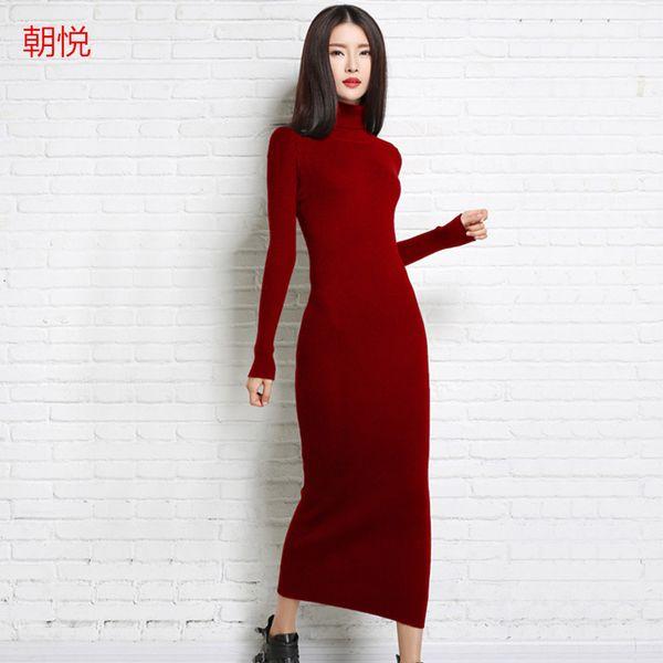 Vente en gros-2017 nouvelle automne et l'hiver sexy robe longue douce féminine avec col long chandail en cachemire chandail tricoté femme chandails tricotés