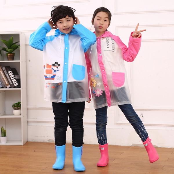 Детский плащ ПВХ прозрачный прозрачный мультфильм дождевики мальчик девочки непромокаемые открытый плащ от дождя YT019