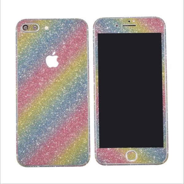Glitter Bling Shiny Full Body Sticker Matte Skin Screen Protector For iphone7 7plus iphone 8 plus 6p/6sp Front+Back decals fashion Stickers